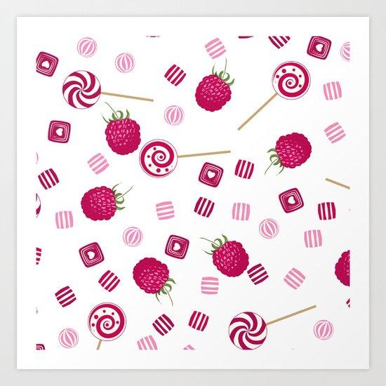 Candy sweets lollipops Raspberry Art Print