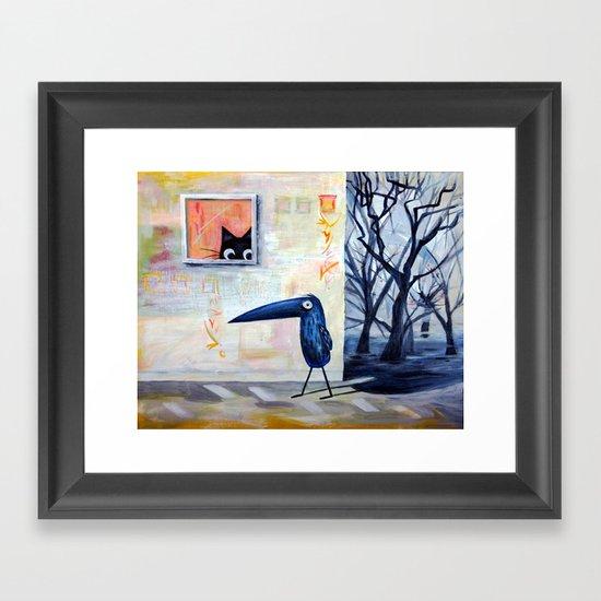 Cat and Bird Framed Art Print