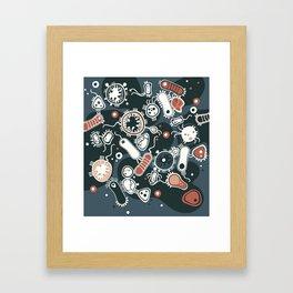 Eukaryotes (dark blue, white and orange) Framed Art Print