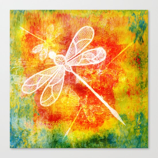 Dragonfly in embroidered beauty Canvas Print