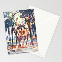 Woods near Oele by Piet Mondrian 1908 // Partial Watercolor Winter Time Forest and Trees at Sunset Stationery Cards