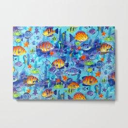Underwater cartoon cute pattern Metal Print