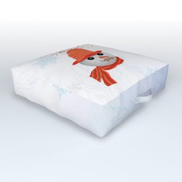 Snowman Christmas Card Outdoor Floor Cushion