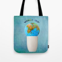 world cup Tote Bags featuring World cup by Anne Seltmann