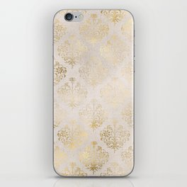 Elegant Cream and Gold Diamond Damask iPhone Skin