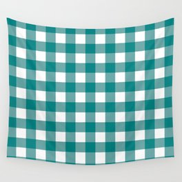 Gingham (Teal/White) Wall Tapestry