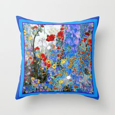 Floral Garden Pattern  Abstract In Blue Shades Throw Pillow