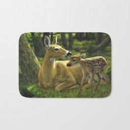 Whitetail Deer and Cute Spring Fawn Bath Mat