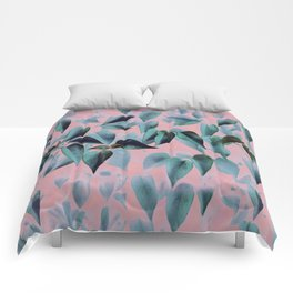 Tropical Foliage on Pink Comforters
