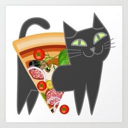 Cat loves pizza Art Print