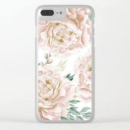Pretty Blush Pink Roses Flower Garden Clear iPhone Case