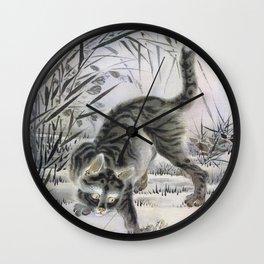 Kawanabe Kyosai - Cat Catching A Frog - Digital Remastered Edition Wall Clock