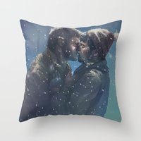 destiel Throw Pillows featuring Winter Destiel by A Midget Banana