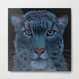 The Blue Leopard Metal Print