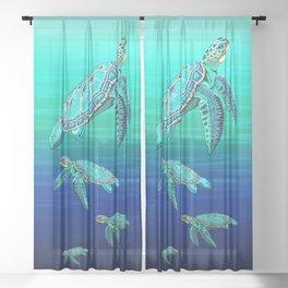 Sea Turtle Turquoise Oceanlife Sheer Curtain