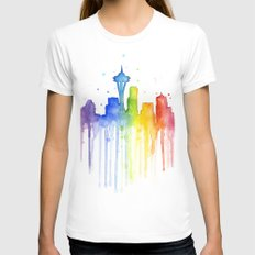 Seattle Skyline Rainbow Watercolor SMALL White Womens Fitted Tee