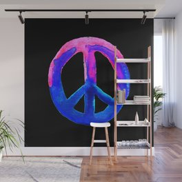 Pink Blue Watercolor Tie Dye Peace Sign Wall Mural