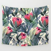 bianca green Wall Tapestries featuring Painted Protea Pattern by micklyn