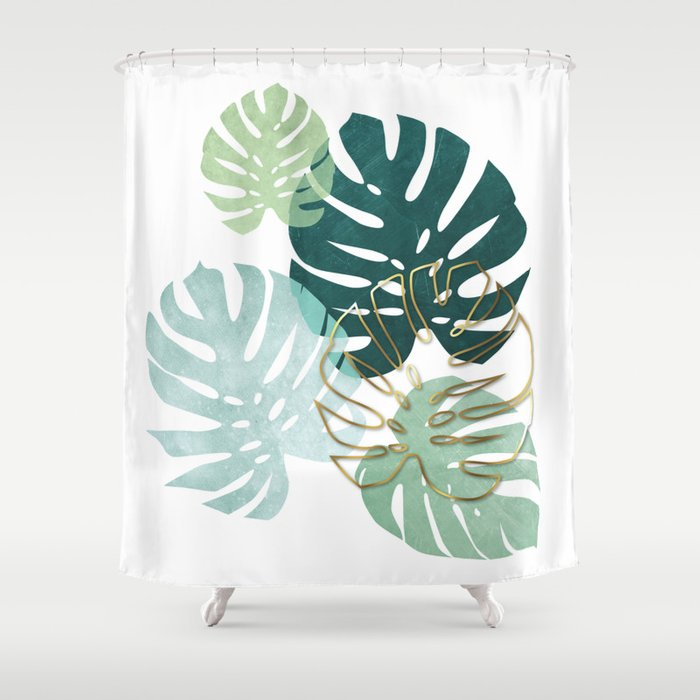 Tropical Minimal Green Turquoise And Gold Monstera Shower Curtain