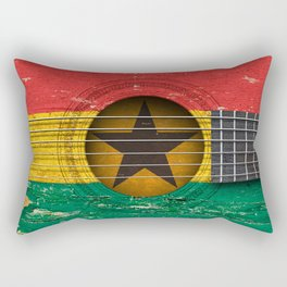 Old Vintage Acoustic Guitar with Ghana Flag Rectangular Pillow