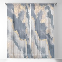 All that Shimmers – Gold + Navy Geode Sheer Curtain