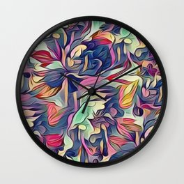 Midnight Floral Abstract Wall Clock
