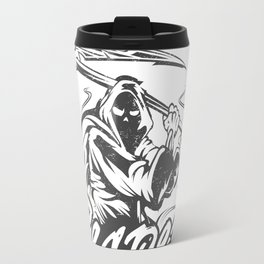 Hand Inked Grim Reaper Illustration Travel Mug