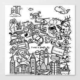I want a doodle fly in Hong Kong Canvas Print