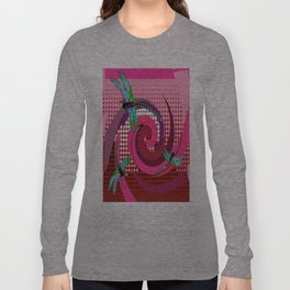 Blue Dragonflies Swirling In Fuchsia Pink Abstract Design  Long Sleeve T-shirt