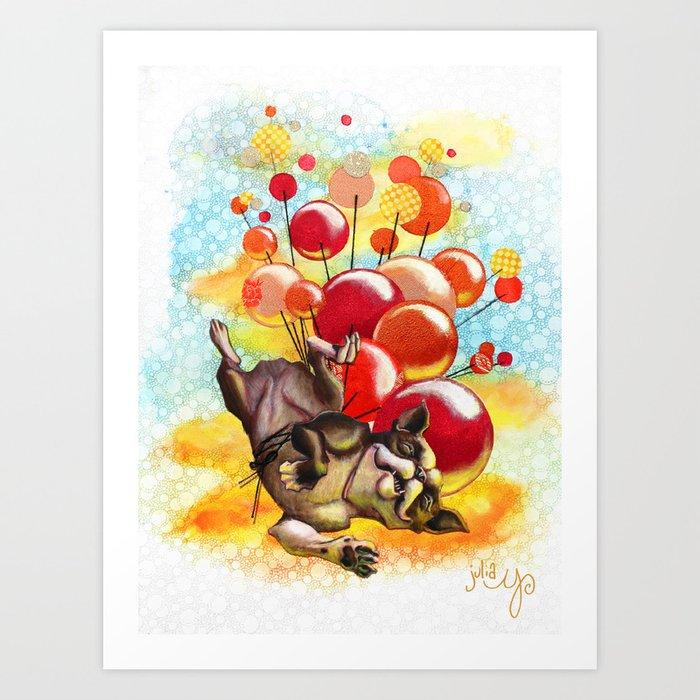 Upward Dog- Fabric Illustration Art Print