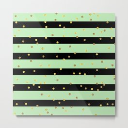 Christmas Golden confetti on Black and Mint Green Stripes Metal Print