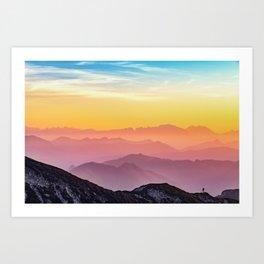 MOUNTAINS - LANDSCAPE - PHOTOGRAPHY - RAINBOW Art Print
