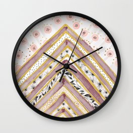 Geometrical and watercolor flowers Wall Clock