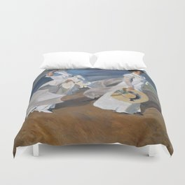 Joaquin Sorolla Y Bastida - Strolling along the seashore Duvet Cover