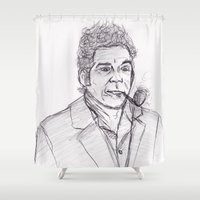 seinfeld Shower Curtains featuring Kramer by jamestomgray