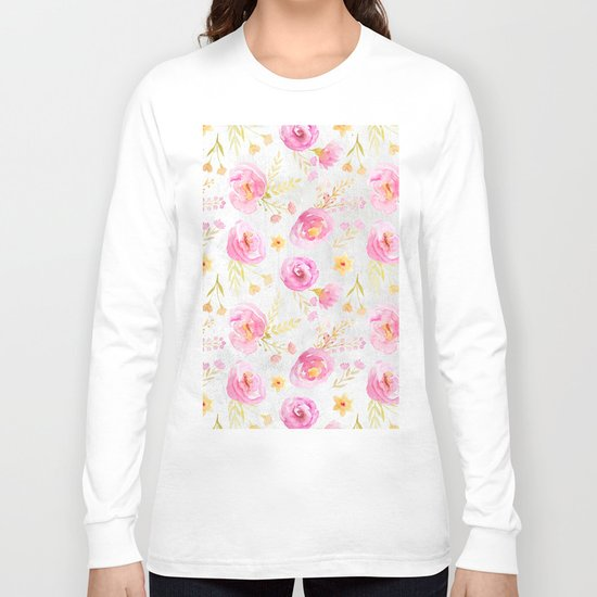 Delicate Poppy Pattern Long Sleeve T-shirt
