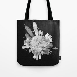 Kuala Lumpur, Malaysia Black and White Skyround / Skyline Watercolor (Inverted Version) Tote Bag
