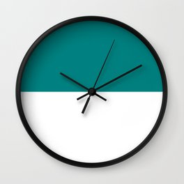 White and Dark Cyan Horizontal Halves Wall Clock