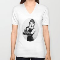 tiffany V-neck T-shirts featuring breakfast with Tiffany by C. Cassandra