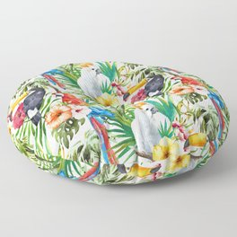 Tropical Birds Palm Trees Pattern Floor Pillow