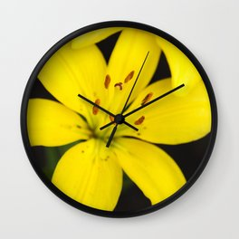 Yellow Lily Flower Wall Clock