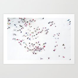 Aerial view of skiers Art Print