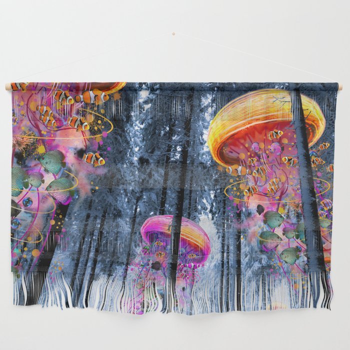 Winter Forest of Electric Jellyfish Worlds Wall Hanging