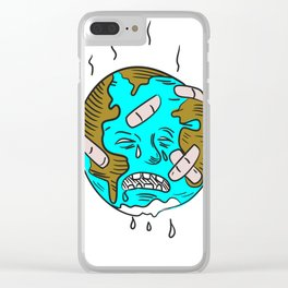 Earth Sad and Crying Doodle Clear iPhone Case