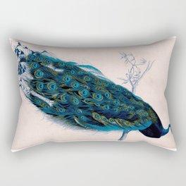 Vintage peacock bird print colorful feathers 1800s antique art nouveau deco nature book plate Rectangular Pillow