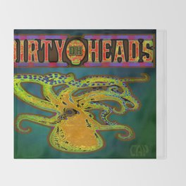 Dirty Heads Psychedelic Octopus #4 Colorful Trippy Vibrant Character Design Throw Blanket