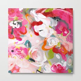 Dream flowers in pink rose floral abstract art Metal Print