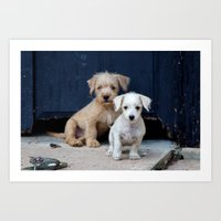puppies Art Prints featuring Puppies by Rafael Andres Badell Grau