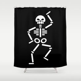Dancing skeleton abstract drawing Shower Curtain