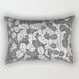 Japanese Leaf Print, Light and Dark Gray / Grey Rectangular Pillow